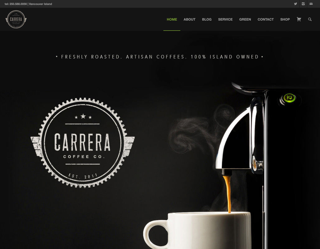 Carrera Coffee Home Page showing banner image and logo