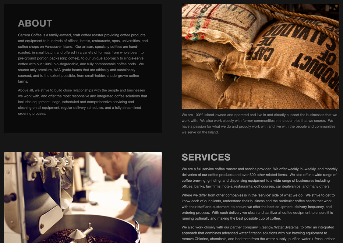 Carrera Coffee home page