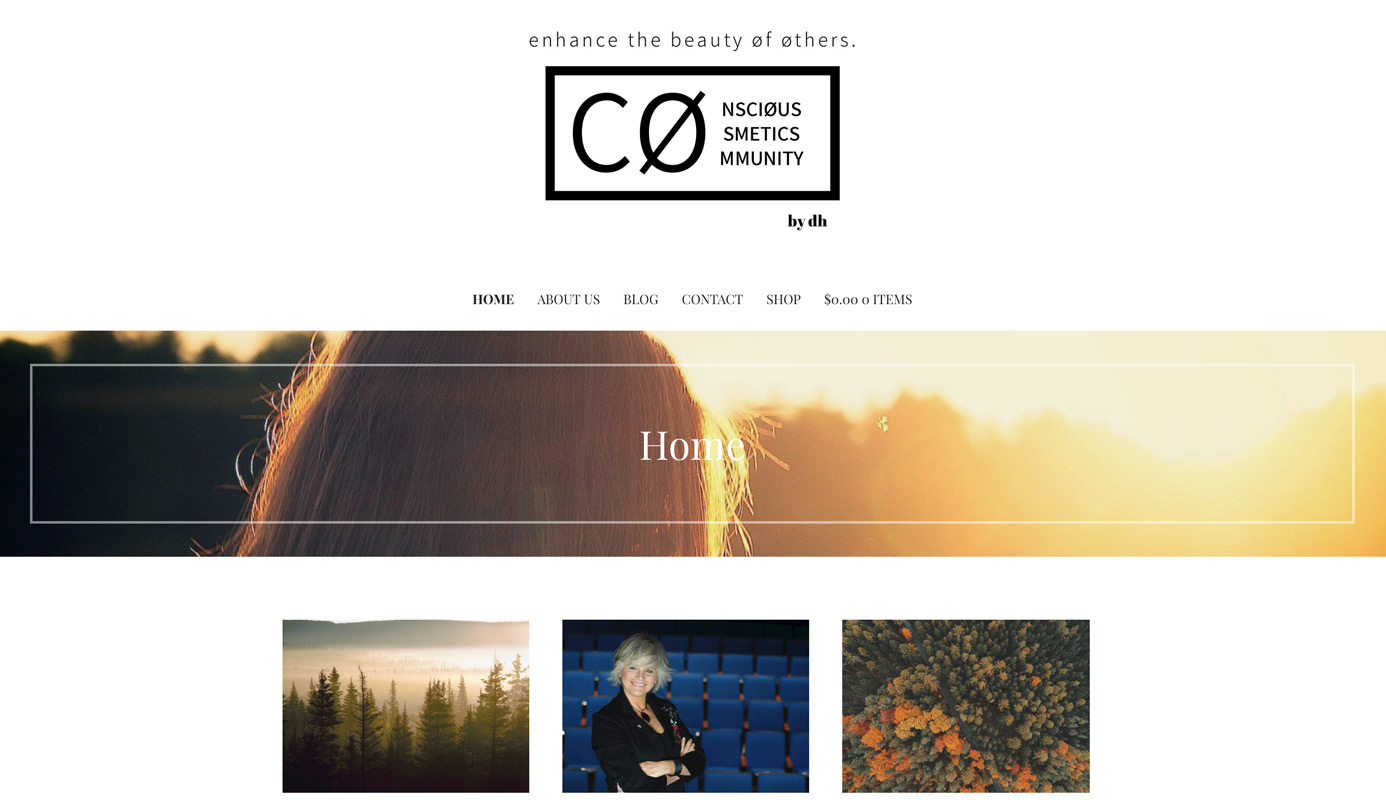 Conscious Cosmetics Community Home Page showing logo and banner image.