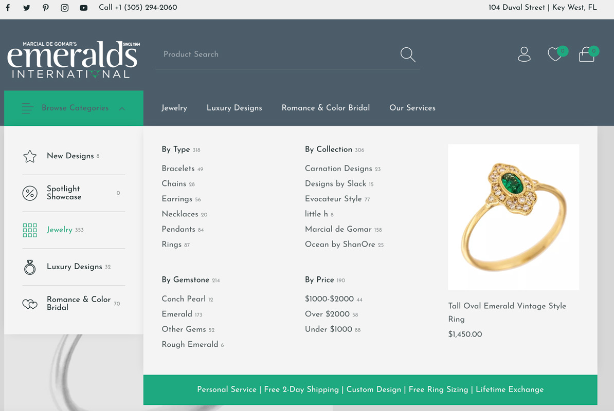 new emeralds international menu style