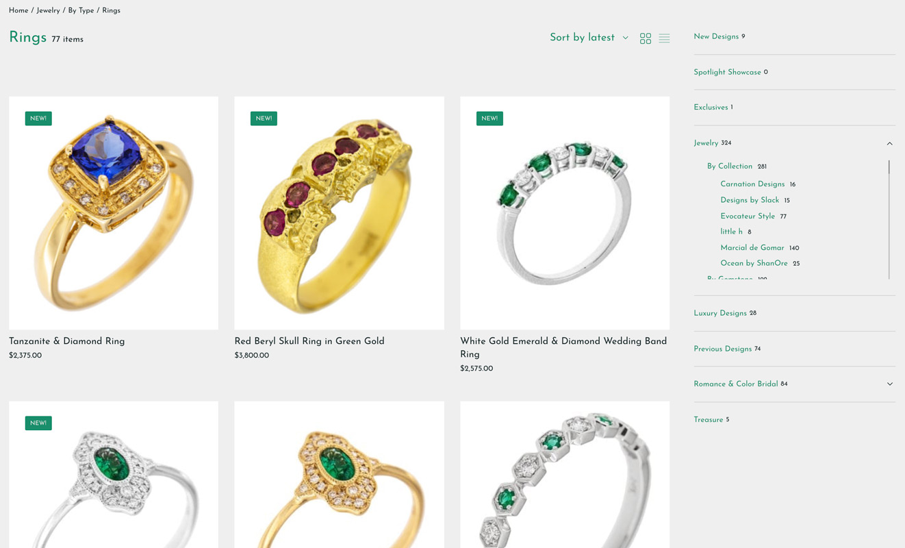 new emeralds international shop page