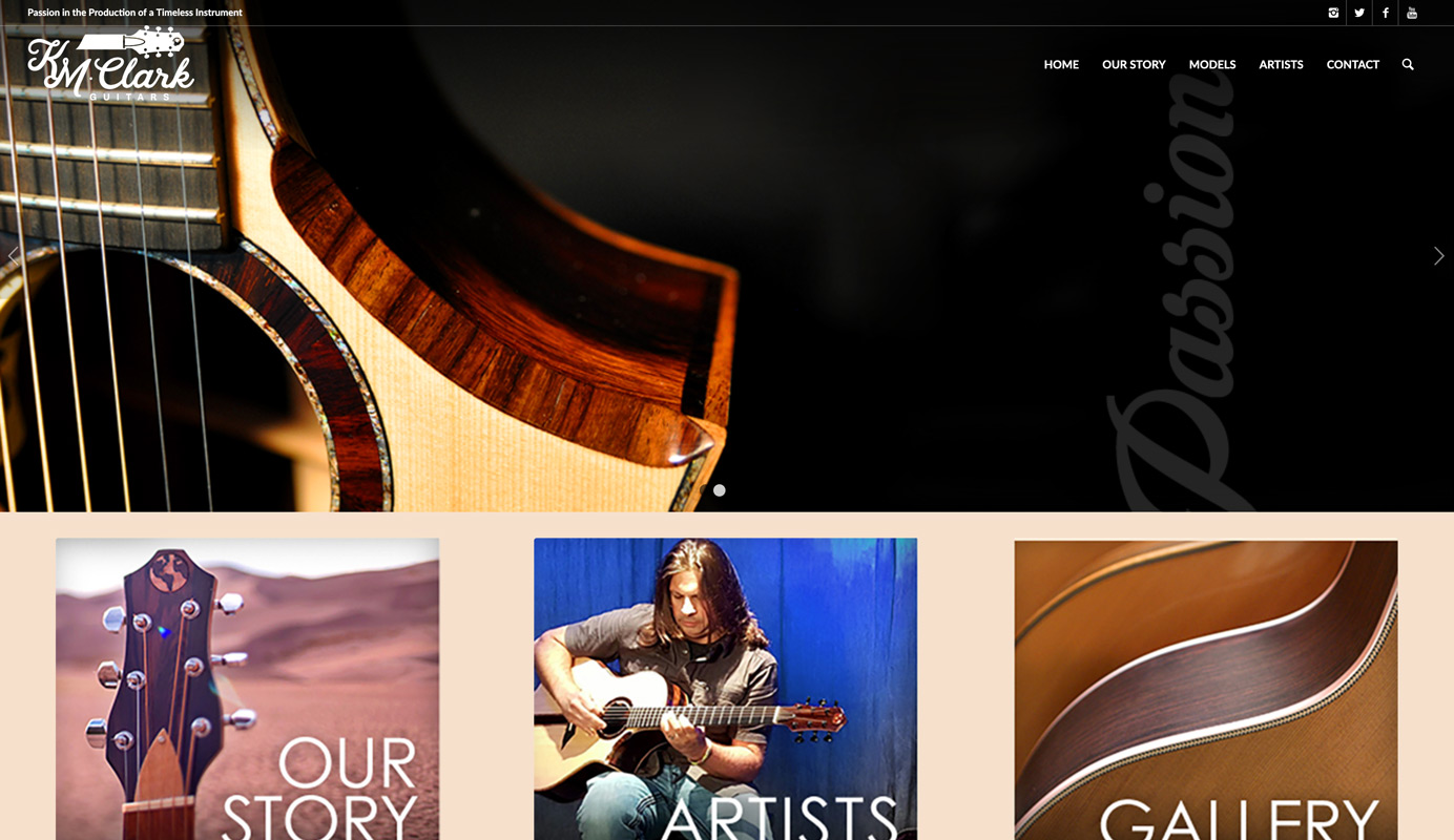KM Clark Guitars Home Page with guitar banner image and three image links.