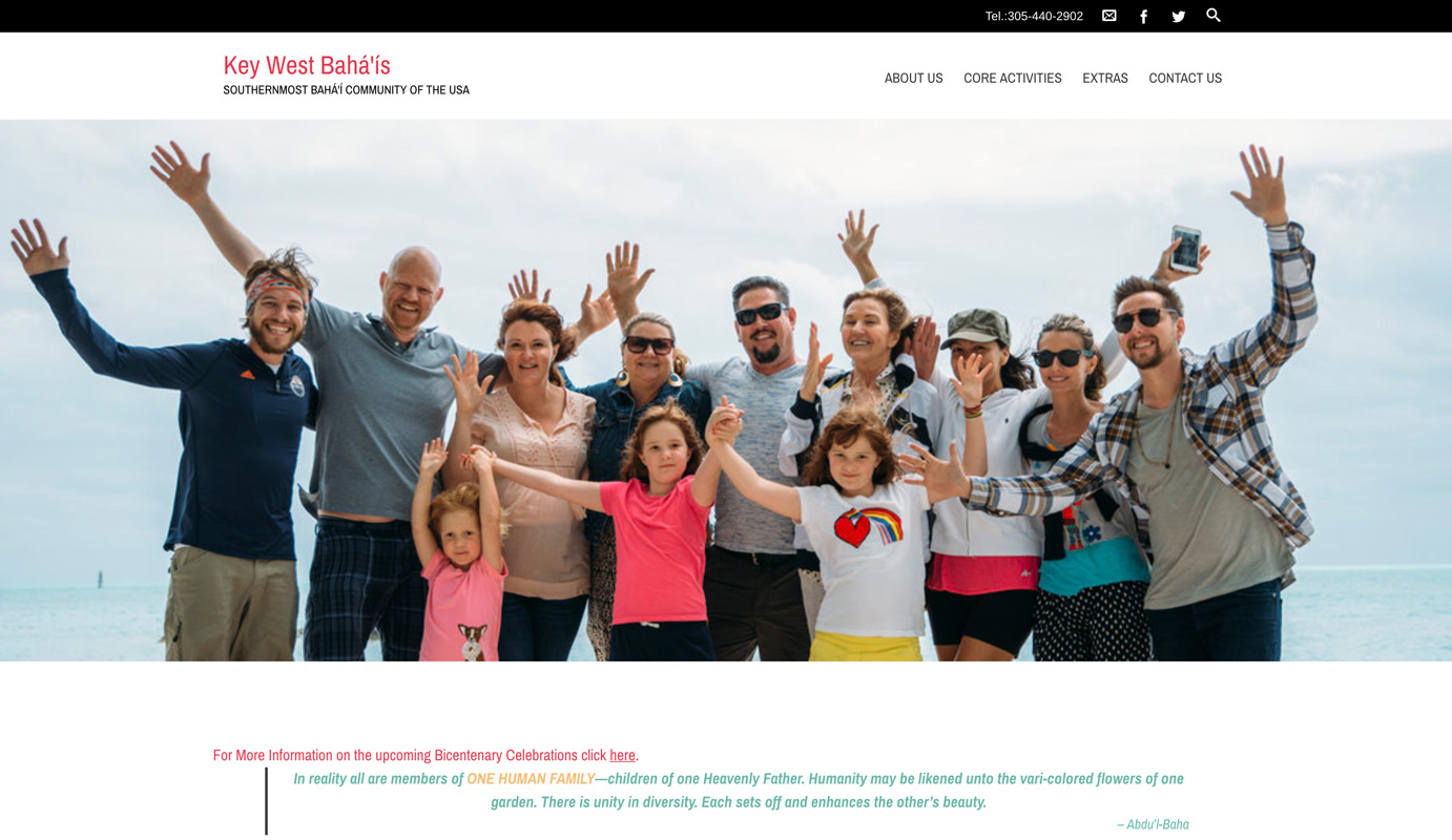 Key West Baha'is Home Page with community photo as banner image.