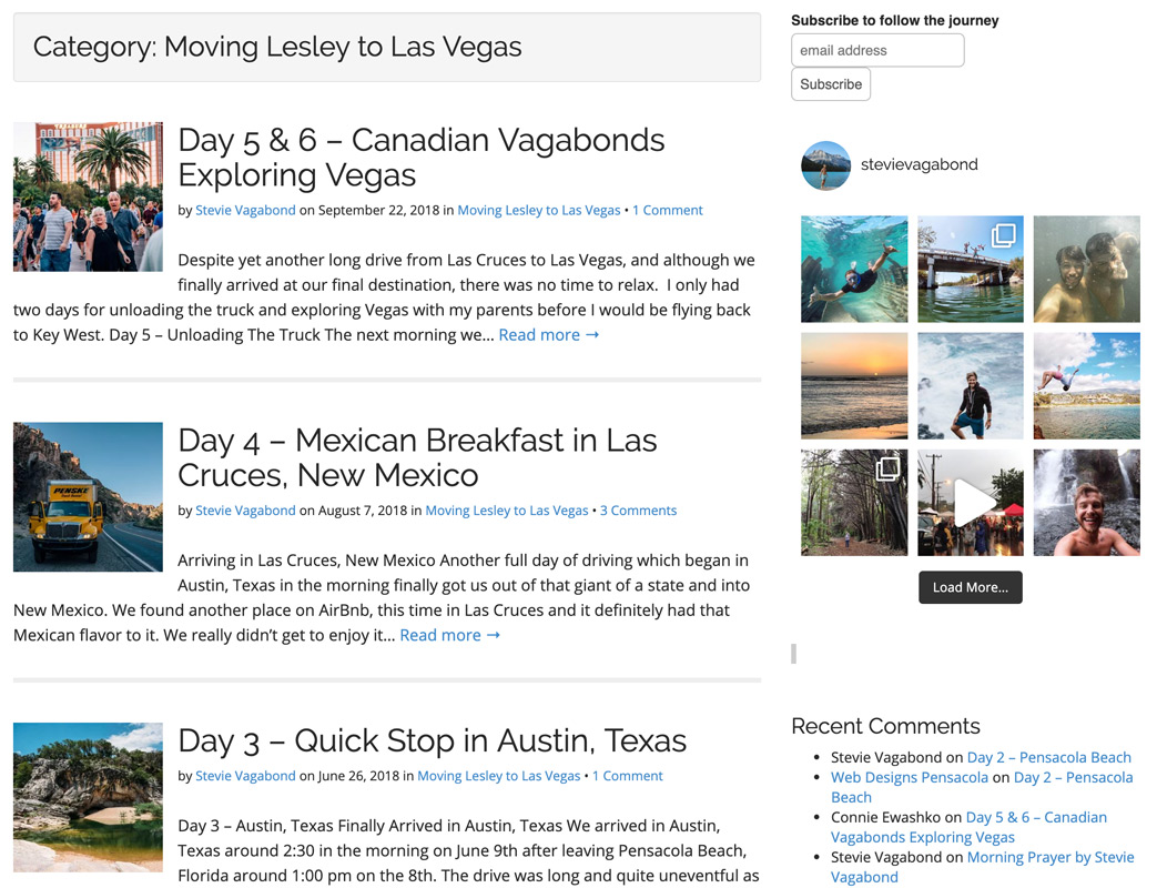 Stevie Vagabond Blog Page