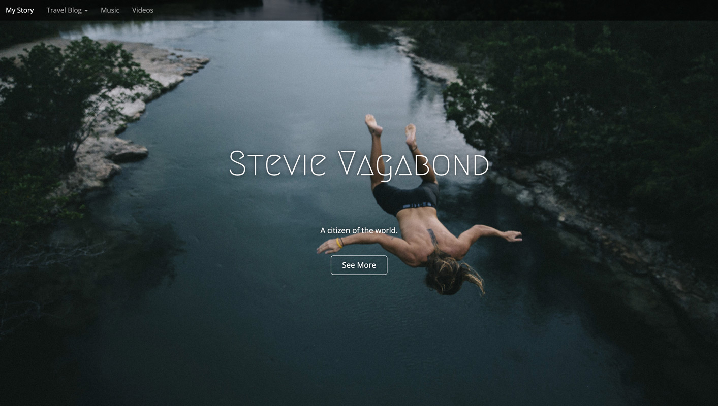 Stevie Vagabond Home Page Full Screen Image