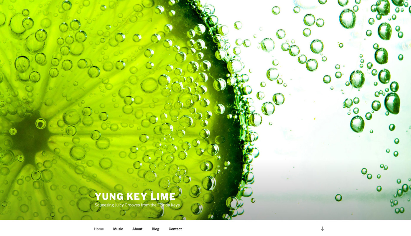 Yung Key Lime Home Page full screen image and minimalist menu